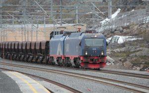 Güterzug vor den Erzmienen von Kiruna