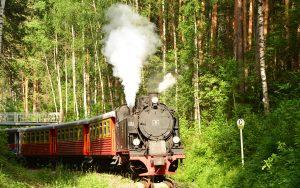 Parkeisenbahn von Jekaterinburg fährt dampfend mit Lok 9 durch den Wald