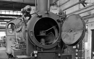 Blick in die Rauchkammer einer Dampflok