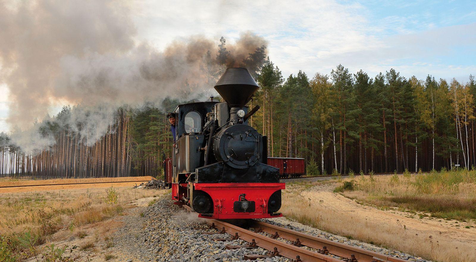 Dampflokomotive Diana der Waldeisenbahn Muskau bei einer Sonderfahrt durch den Tagebau Nochten durch den Geopark Muskauer Faltenbogen