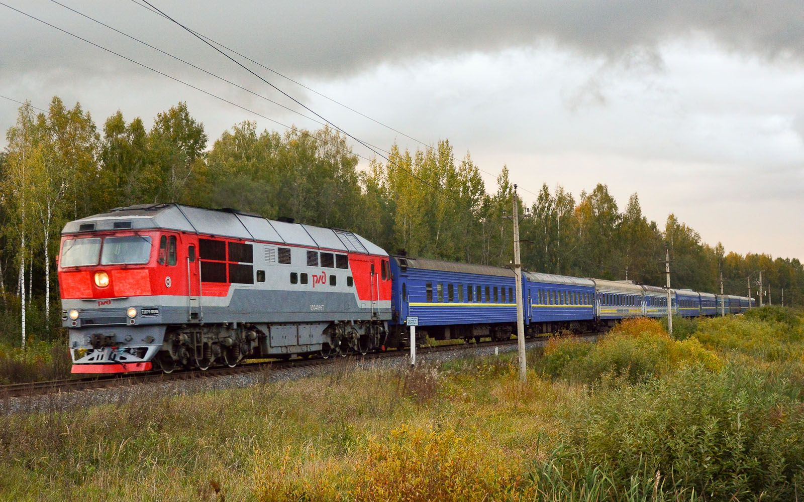 ©Foto: railmen Steffen Mann | TEM 70-0096 mit D-Zug bei Batezkaja (südlich Leningrad) | 24.09.2018